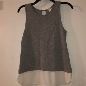 JCrew factory grey tank with white detail S Small
